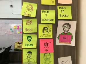 Decoratief: Post-its team members