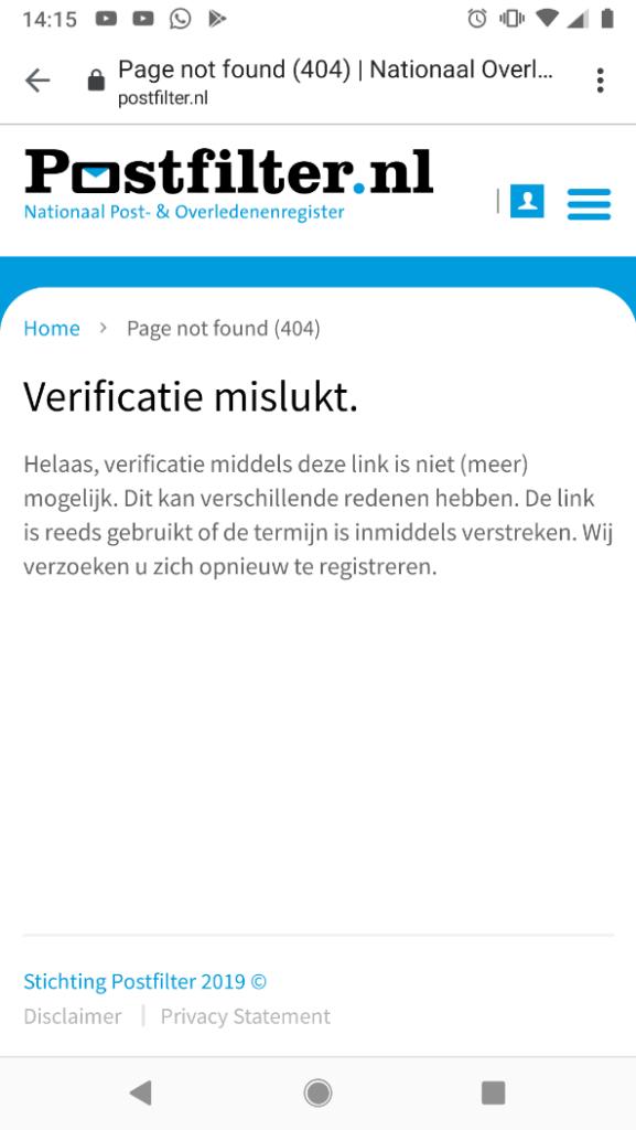 404 melding Postfilter.nl